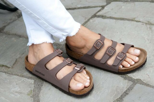 Birkenstock Sandals Florida mocha mocca Birko FlorNubuck regular Soft Footbed
