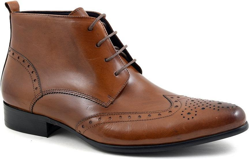 Gucinari edris Uomo LEATHER Lace-Up Casual formale ha sottolineato BROGUE STIVALETTI TAN BROWN