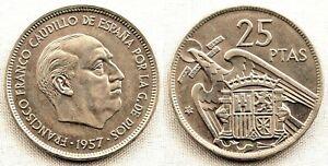 Spain-Estado-Espanol-25-Pesetas-1957-72-Madrid-SC-UNC-Niquel-8-5-g