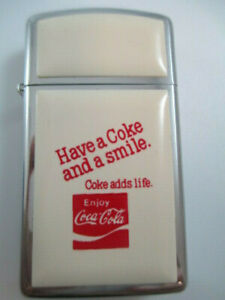 Coca-Cola-Zippo-Lighter-Stainless-and-Enamel-Coke-Adds-Life-Rare