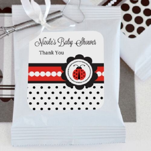 72 Personalized Ladybug Theme Hot Cocoa Mix Pouches Baby Shower Favors