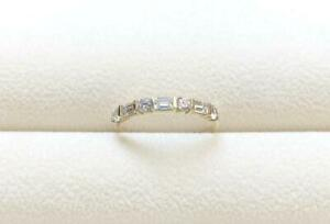 Baguette-amp-Round-Diamond-Beautiful-Half-Eternity-Band-Ring-14k-Yellow-Gold-Over