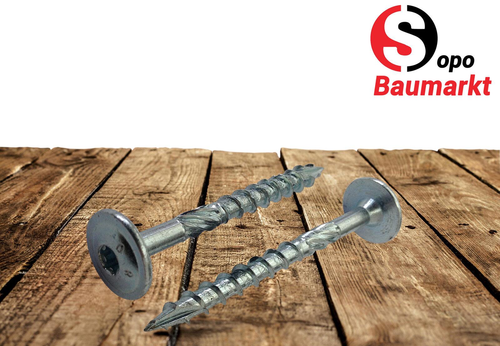 Holzbauschrauben Tellerkopfschrauben von 8,0 x 40 bis 400 mm hell verzinkt NEU