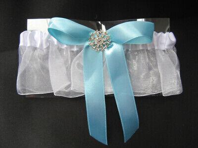 Affidabile White & Blue Nuziale Giarrettiera Con Fiocco Diamanti/-mostra Il Titolo Originale