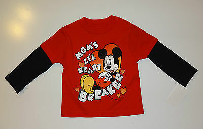 Micky Maus~Gr.80~Disney~Langarmshirt~Spruch~Herz~rot~Mickey mouse~Pullover~Mom~