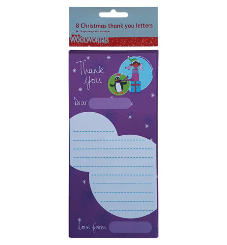 CHRISTMAS 1 x Pack Woolworths 8 Thank You Letters /& Envelopes Purple One Design