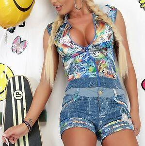 Damen-Jeans-Kombi-Set-2-Teiler-Weste-Hose-Hoody-Jacke-Hotpants-34-38-O95