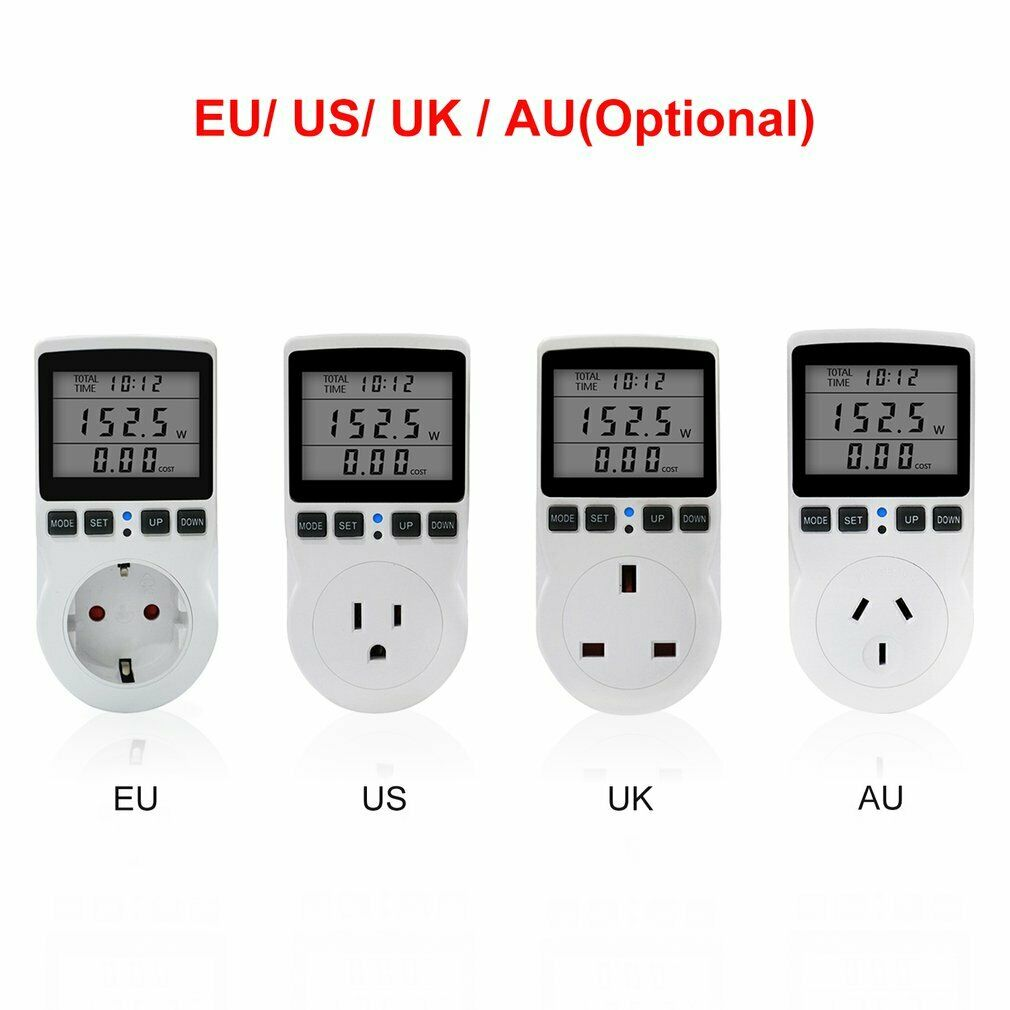 1-10 Pack LCD Power Energy Watt Amps Volt KWh Meter Electricity Monitor Analyzer