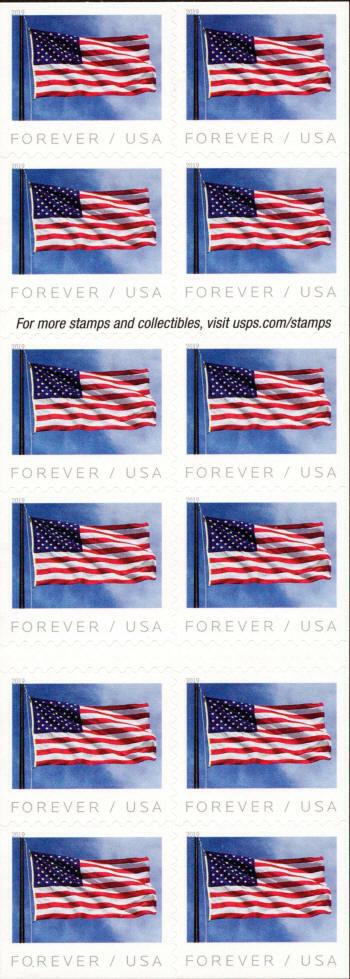 2019 55c U.S. Flag, Stars & Stripes, Booklet of 20 Scot