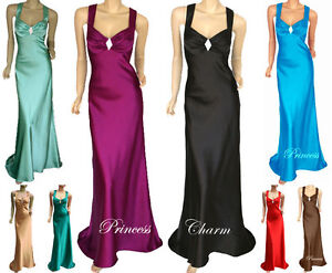 Formal-Evening-Bridesmaid-Ball-Prom-Dress-Satin-Full-Length-Plus-Size-24-to-8