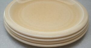 Set-of-4-FRANCISCAN-SEA-SCULPTURES-SAND-Dinner-Plates-about-10-1-2-034-across