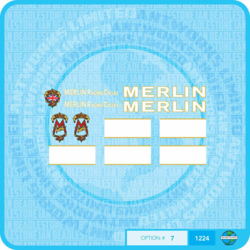 Set 7 Bicycle Decals Transfers Stickers UK Merlin Racing Cycles