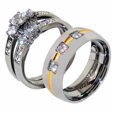 3 PCS HIS HERS Princess CZ Gold Stainless Steel Wedding Set// Mens Spinning Band