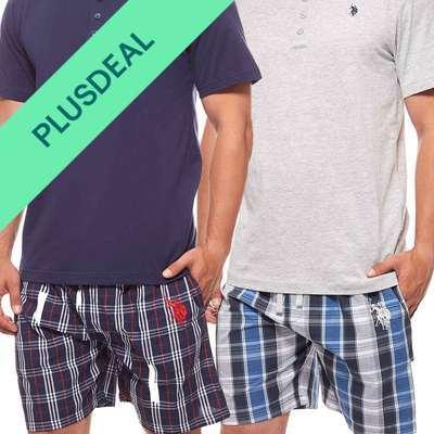 U.S. POLO ASSN. Nachtwäsche Pyjama Set Herren Schlafanzug kurz Schlafwäsche