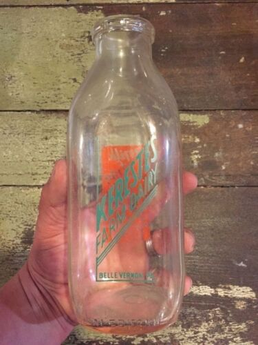 Antique 1 Qt Milk Bottle, Kerestes Dairy Belle Vernon Pa, Very Nice