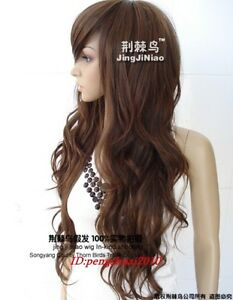 New-Heat-Resistant-Long-Light-Brown-Fashion-Wavy-Womens-Cosplay-Hair-Full-Wigs