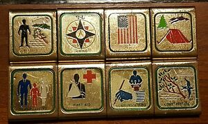 Boy-Scout-Lot-BSA-Metal-Badge-Buckle-Merit-Loops-Vintage-Set-CAMPOREE-Jamboree