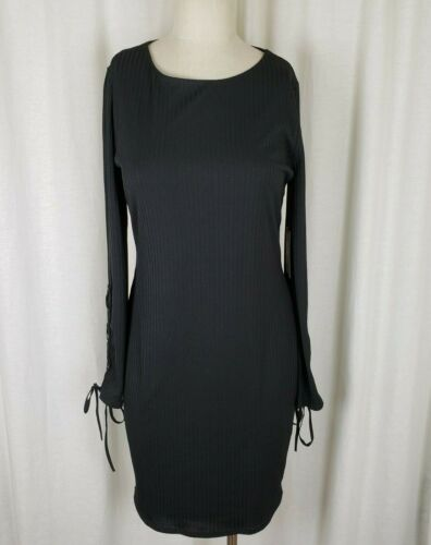 Vince Camuto Womens Black Ribbed Grommets Lace Up Sleeves Sheath Mini Dress XL