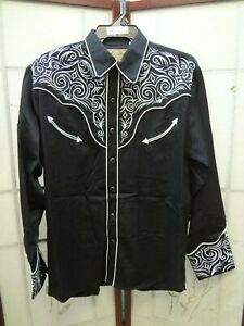 Men/'s Scully Floral Embroidered Western Cowboy Rodeo Retro Snap Shirt Red