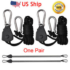 Hydroponic Adjustable Grow Light Hanger Heavy Duty Ratchets 1/8 Rope clip