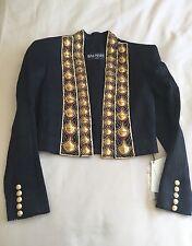 Balmain Black Crystal Embellished Red Gold Jacket Dress Blazer BNWT UK 8 FR 36