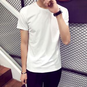 Men-Short-Sleeve-T-Shirt-Basic-Tee-White-Casual-Tops-Cotton-T-Shirt-M-L-XL-2XL