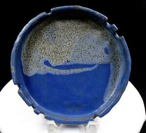 "STUDIO ART POTTERY LS SIGNED EARTHENWARE BLUE DRIP GLAZE LARGE 8 5/8"" ASHTRAY"