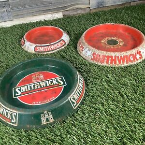 3x-Vintage-Tin-Smithwicks-Ashtray-1980s-Retro-Pub-Beer-Man-Cave-Glentoran