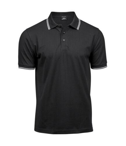 BLUE GREEN GREY WHITE BLACK Luxury Stretch Cotton Stripe Mini Pique Polo Shirt