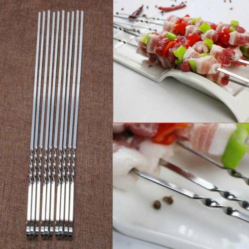 Barbecue Tool Roasting Forks Camping Sticks Skewer Bbq Stainless Steel 10 Pcs