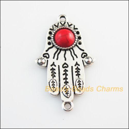 3 Nouveau Charme Fleur Palm Rouge Turquoise Tibetan Silver Pendentifs Rétro 24x41mm