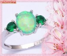 Triumphant Fiery Green Opal/Blue Sapphire 925 Hallmarked Silver Ring Size 10 - T