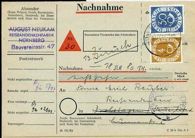 427503) Bund Nn-karte Mit Mif Posthorn Aus Nürnberg 1953, Zurück