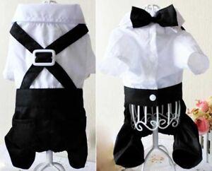 Pet-Dog-Puppy-Wedding-Tuxedo-Apparel-Clothes-Suit-Bow-Tie-Stylish-Shirt-Coat