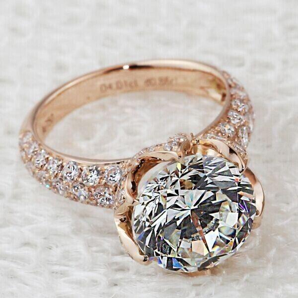4 CT Round Brilliant Cut Solitaire Vintage SONA Diamond Engagement Wedding Ring