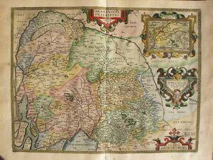 1603 ORTELIUS Deventer Map BRABANT BELGIUM 4 Cartouches Fine