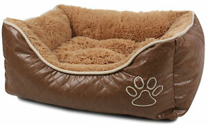 NEW-Brown-BED-Luxury-Cushion-Dog-Puppy-Cat-Kitten-Deluxe-PET-Box-Soft-Basket