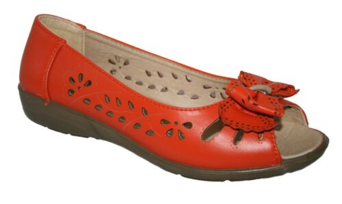 LADIES SUMMER OPEN TOE COMFORT SANDAL WITH PUNCH DETAIL /& BOW 2 COLOURS 3 X 8