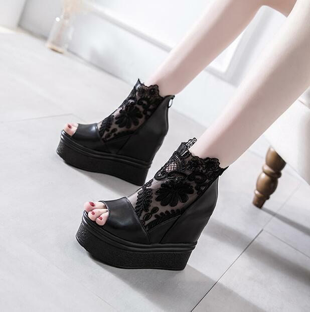 Gothic Gothic Gothic donna Open Toe Mesh Creeper Sandal Platform High Hidden Wedge Heel scarpe ca2f0b