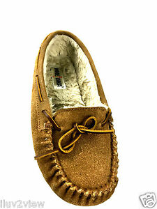 MINNETONKA Moccasin 4052 Caramel Suede Faux Fur Lined Size 9 Usa.