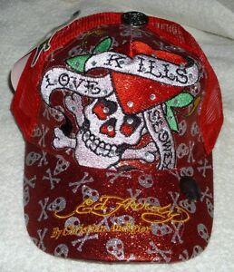 b138105ab21 RED Ed Hardy Christian Audigier Love Kills Slowly Baseball Style Cap ...