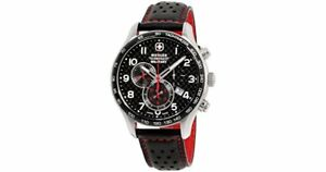 Wenger-Swiss-Army-Black-Dial-Leather-Strap-Men-039-s-Watch-79310C-chronograph