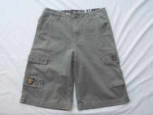 vtg-Quiksilver-mens-boys-grn-khaki-cargo-shorts-snap-pockets-size-20-waist-32in