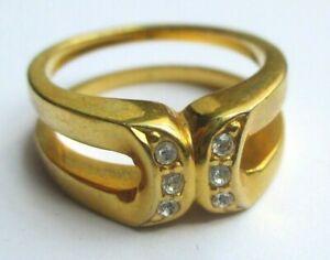 Doux Bague Double Anneaux Couleur Or Cristaux Diamant Bijou Rétro Grande Taille 57