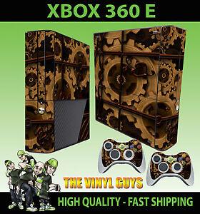 Xbox-360-E-Steampunk-ENGRENAGES-ROUAGES-Victorien-peau-autocollant-a-vapeur-amp-2-pad-peau