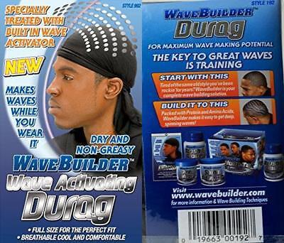 Wavebuilder Premium Hair Wave Activating Durag Black