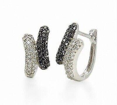 Elegant! 100% 14K White Gold Black & White Diamond Huggie Hoop Earrings - .50ct