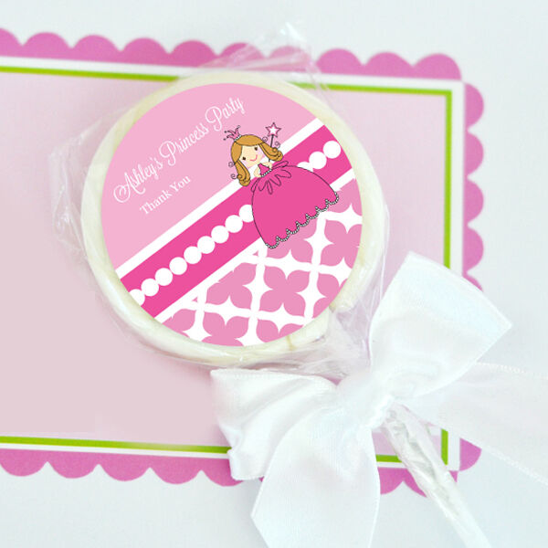 24 Pink Princess Party Lollipops Personalized Lollipop Birthday Party Favors