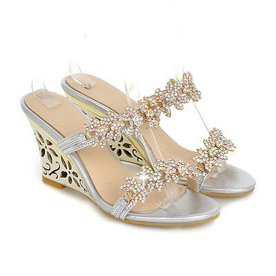 Womens Rhinestones Loafer Slipper Slingback Sandal High Heel Wedge Casual Shoes