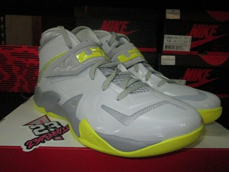 SALE NIKE ZOOM LEBRON SOLDIER VII 7 PURE PLATINUM SONIC YELLOW WOLF GREY 559264